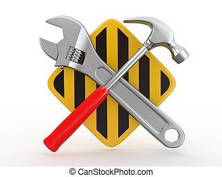 Utility Tools, Wrench and hammer 3d - Utility Tools, Wrench...