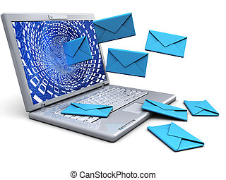 laptop with emails - abstract 3d illustration of laptop with...