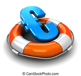save euro - 3d illustration of euro sign inside rescue...