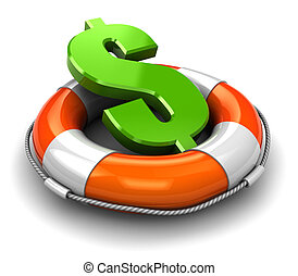 save dollar - 3d illustration of rescue circle with dollar...