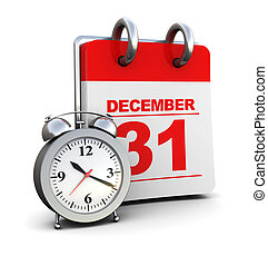 end of year - 3d illustration of calendar and clock, over...