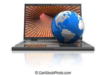 internet - 3d illustration of laptop comuter with earth...
