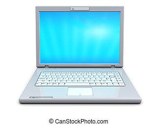 white laptop - 3d illustration of modern white laptop over...