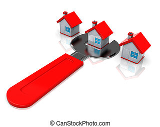 houses repair - 3d illustration of houses row and wrench,...