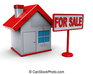 house for sale - 3d illustration of house for sale symbol,...