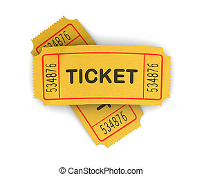 cinema tickets - 3d illustration of two cinema tickets over...