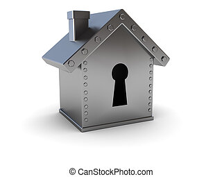 home safe - conceptual 3d illustration of home safe over...