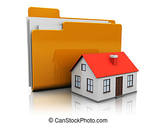 home folder - abstract 3d illustration of folder icon with...