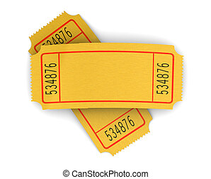 cinema tickets - 3d illustration of two blank cinema...