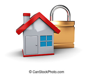 home security - 3d illustration of house and lock icon
