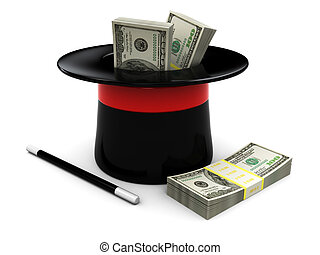 magic money - 3d illustration of magic wand and hat with...