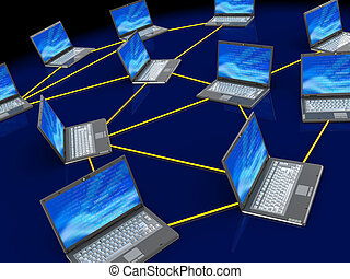 computer network - 3d illustration of computers network over...
