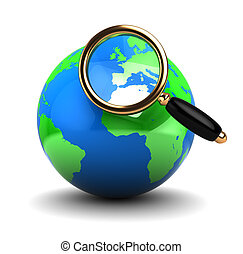 earth and globe - abstract 3d illustration of earth globe...