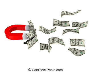 money magnet - 3d illustration of magnet with dollar...