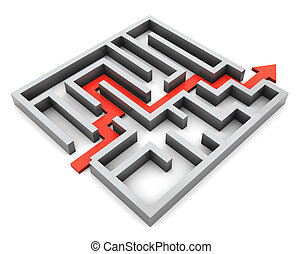 maze - 3d illustration of right route and maze, over white...