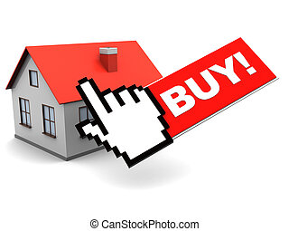online buy house - 3d illustration of house and cursor,...