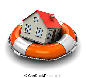 home insurance - 3d illustration of rescue circle with house...