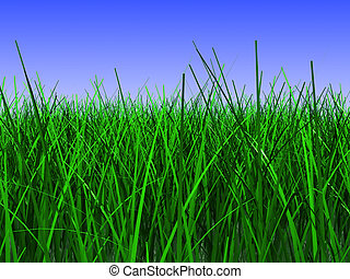 grass meadow - 3d illustration of green grass closeup, over...