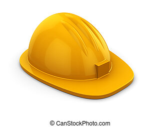 hardhat - 3d illustration of yellow hardhat over white...