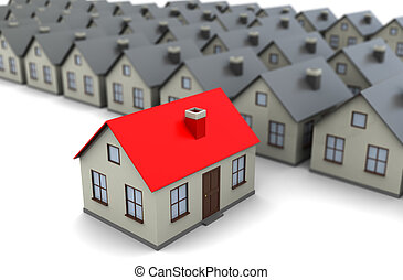 best house - abstract 3d illustration of gray houses row,...