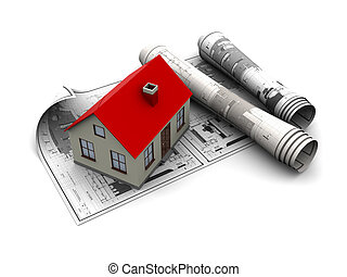 house blueprints - 3d illustration of blueprints and house...