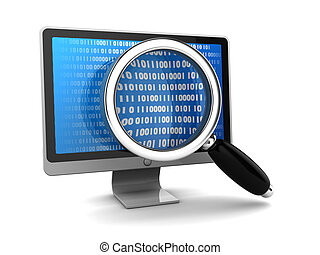 data search - 3d illustration of computer monitor with...
