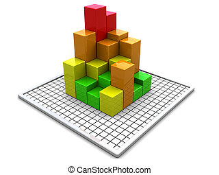 business charts - abstract 3d illustration of business...