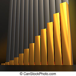 raising charts - 3d illustration of metal raising charts...