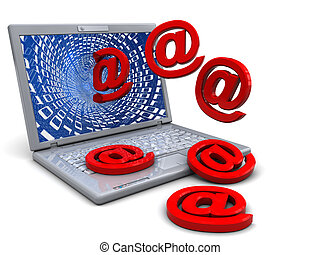 laptop and email - abstract 3d illustration of laptop...