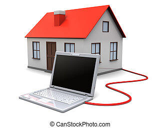 smart house - 3d illustration of house controlled by laptop...