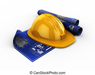blueprints and hardhat - 3d illustration of blueprints and...