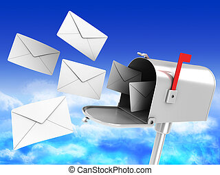 mailbox with many letters - 3d illustration of mailbox with...