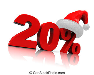 christmas discount - 3d illustration of christmas discount...