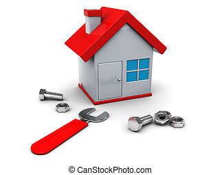 home repair - 3d illustration of house repair icon or symbol
