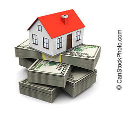 house and banknotes - abstract 3d illustration of house on...