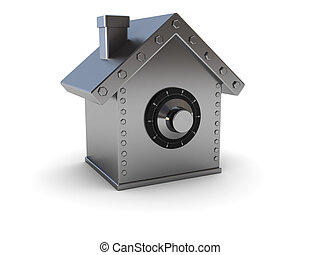 home safe - abstract 3d illustration of home safe symbol...