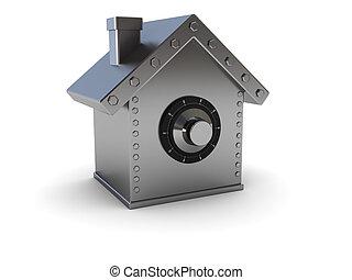 home safe - abstract 3d illustration of home safe symbol...