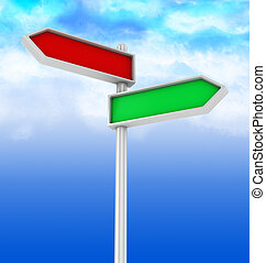 choice direction - 3d illustration of choice direction sign