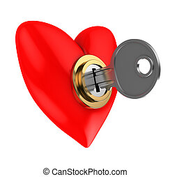 locked heart - abstract 3d illustration of red heart locked...