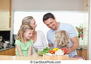 Happy family in the kitchen - Happy family together in the...