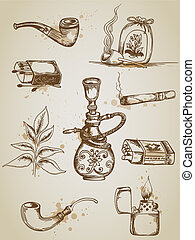 Smoking and cigarette icons - Vintage hand drawn vector...
