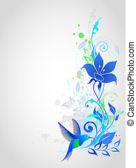 Blue vector background with floral ornament and humming-bird...