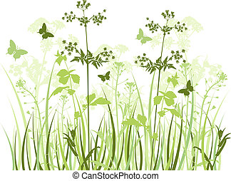 Meadow with wildflowers - Green vector background with...