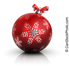 christmas ball - 3d illustration of single christmas ball,...