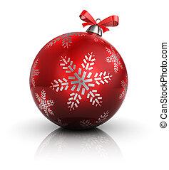 christmas ball - 3d illustration of single christmas ball,...