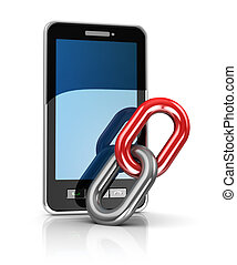 mobile link - abstract 3d illustration of mobile phone and...