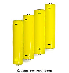 batteries - yellow batteries isolated on white background