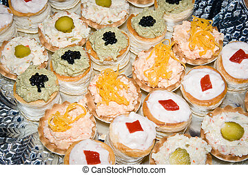 Different sort of canape for a self service buffet