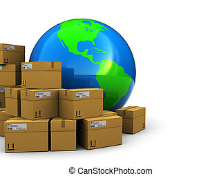 global warehouse - abstract 3d illustration of earth globe...