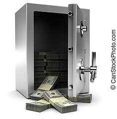 safe with money - 3d illustration of steel safe with money,...